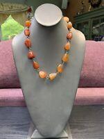"Deep Burnt Orange  Carnelian Stone Pretty  Beaded Necklace 20""Glass Beaded"