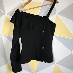 V BY VERY Women's One Sleeve Asymmetric Top Fake Jacket Black Size UK 14 VGC