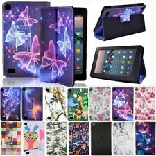 Para Amazon Kindle Fire 7/HD 8/HD10 Con Estuche con Funda y base de cuero inteligente Alexa