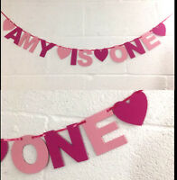 PERSONALISED GIRLS 1st BIRTHDAY BANNER. Pink bunting CAKE SMASH party decoration