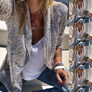 Womens Glitter Sequin Blazer Suit Open Front Thin Jacket Ladies Party Outwear