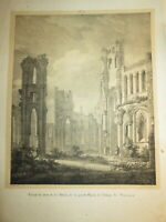 L. BALTARD 1764-1846 INCUNABLE LITHO RUINES JUMIEGES ARCHITECTURE NORMANDIE 1820