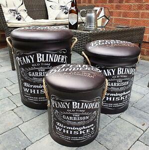 Peaky Blinders Whiskey Metal  Storage mancave, beer,Barrel, Bin Stool - Set of 3