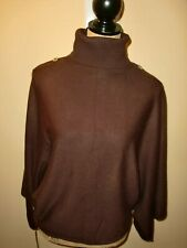 Women's~COLOUR WORKS~BROWN~TURTLENECK~BATWING 3/4 SLEEVES SWEATER SIZE L.~CUTE~