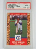PSA 9 1989 Police BERNIE WILLIAMS Columbus Clippers Cracker Jack Baseball Card