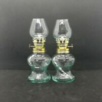 2 pcs Vintage Clear Glass Metal Kerosene Oil Lamp Lantern Indoor Outdoor Camping