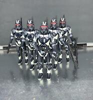 """Lot of 5 Star Wars Shadow Utapau Dark Blue Clone Trooper 3.75"""" Loose Figure"""