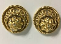 Vintage Trifari Clip on Earrings Gold Tone Round Rope Scroll Work Flower Signed