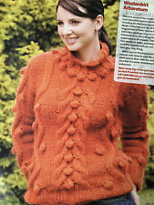 KNITTING PATTERN Ladies Cable + Bobble Design Sweater Long Sleeve Jumper Drops