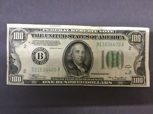 1934 $100 dollar Federal Reserve Note. Bank of New York