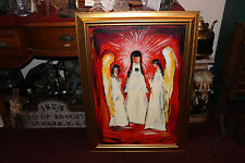 QN Venezia Signed Painting-3 Winged Angels Red Background-Religious Folk Art