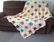 NEW Hand Made with love UK Crochet Throw Blanket Chair Sofa Cover Squares