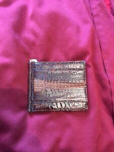 Wallet Money Clip Crocodile Skin