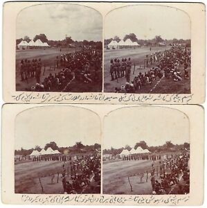 Four stereoviews of a local sports day in India.