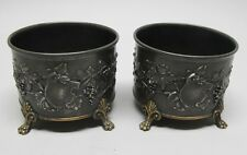 Fine Pair of Mid-19th C. Silver & Gilded Bronze Wine Coasters  c. 1850   antique