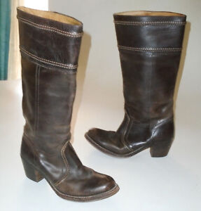 FRYE Tall Leather JANE Riding Boots BROWN Vtg 77231 Knee High Cowgirl Hippie 8 B