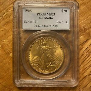 1908 US $20 Gold / No Motto PCGS MS-63 Series 71 Coin