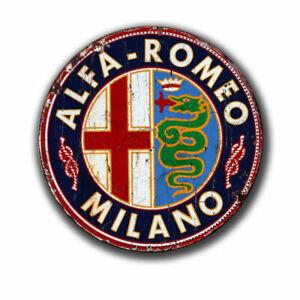 ALFA ROMEO MILANO  BLECHSCHILD  GARAGE WERKSTATT   VINTAGE NOSTALGIE