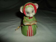 Vintage 1980 Jasco Bisque Porcelain Critter Bells Mouse With Book Bell