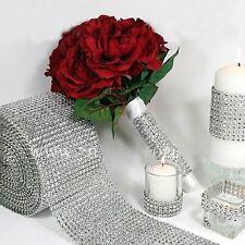 """4.6"""" Bouquet Mesh Wrap Roll Sparkle Rhinestone Crystal Ribbon Wedding Decoration"""