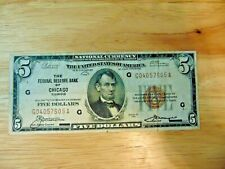 1929 $5 Brown Seal National Currency! Chicago XF
