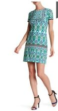 NWT Maggy London Women's Short Sleeve Allover Aqua Print Crew Neck Dress Size: 6