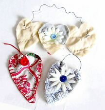 """3 Hand Made Heart Shaped Ornaments Hangers Old Quilt Fabric 7.5"""" Free Sh"""