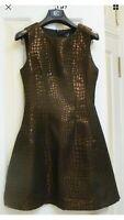 AX Paris Black Sleeveless Copper/Rose Gold Crocodile Print Skater Style Dress 8