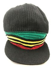 "RASTA BLACK KNITTED HAT RED GOLD GREEN WAVY STRIPE & WITH 2"" PEAK LENGTH 11"""