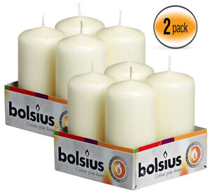 Ivory Pillar Candles 2x4 inces Set Of 8 For Party, Wedding, Events, By Bolsius