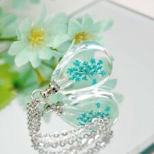 Cremation Urn Necklace, Glass Tear with Teal Dried Flower || Ashes Keepsake