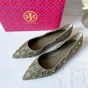 Tory Burch Yasmin Pointed Toe Beaded EMBROIDERED Ballet Flat Green Suede US 10