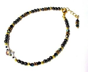 Egyptian Gold-Plated Gold Hematire, Hematite & Crystal Ankle Bracelet Anklet A9