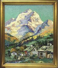 CARL  BOWEDT *1889 »ALPENDORF« ITALIEN DEUTSCHLAND ÖSTERREICH SCHWEIZ 70X60 CM