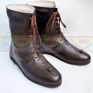 Medieval Front Lace Shoes Peasant Footwear Re-enactment Leather Boots for men