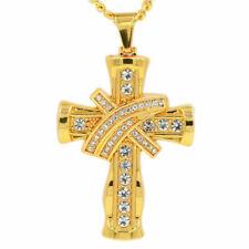 Rock Jewelry Jesus Cross Pendant Mens Jewellery 18K Gold Color Necklaces Gift