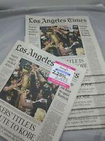 Los Angeles Times Newspaper Lebron James LA Lakers Champion October 12, 2020 AD