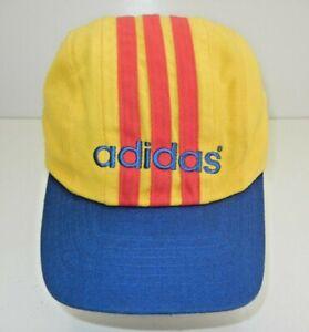 Vtg 90s ADIDAS Federatia Romana ROMANIAN SOCCER HAT Romania World Cup Yellow Cap