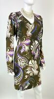 Etro New 8 US 44 IT M Brown Purple White Floral Stretch Sheath Dress Runway Auth