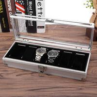 6 Grid Aluminium Watch Holder Showcase Display Box Jewelry Storage Organizer UK