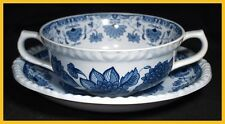 Adams Blue Butterfly Soup Coupes & Saucers