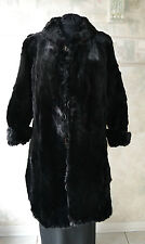 VTG GENUINE BLACK CONEY FUR COAT FOR REMODELING / CRAFT CUTTER REPAIR SCRAP
