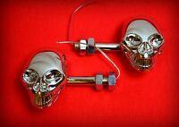 [X2 paires] Clignotants Tête de Mort Skull - NEUF - moto custom trike harley