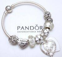 Authentic Pandora Silver Bangle Charm Bracelet Crystal Heart European Charms