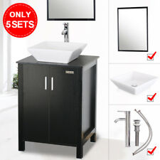 24 inch Black Bathroom Vanity W/Mirror Top Ceramic Square Sink Faucet Single