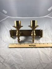 Vintage Solid Brass Wall Sconce w/Dual Candle Holders On A Scroll  Back Plate