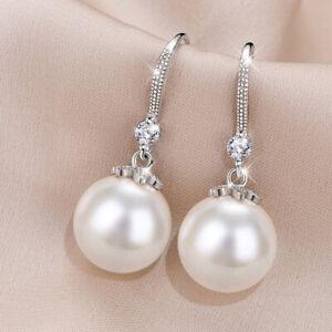 Dangle Drop Earrings 925 Silver White Pearl Earings Jewelry for Womens Female
