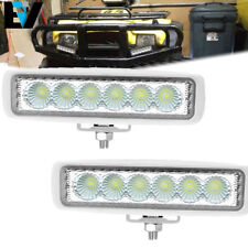 Pair 6 Inch 18W Single Row LED Work Light Bar Flood Offroad SUV Driving Fog Lamp