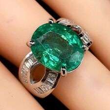 SPARKLING 6.43TCW Emerald VS Diamond 18K Solid White gold ring Natural Oval Huge