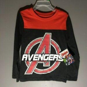 Marvel Avengers NEW Kids Long Sleeve T-Shirt Black & Red Boys Size 4 Kidcore